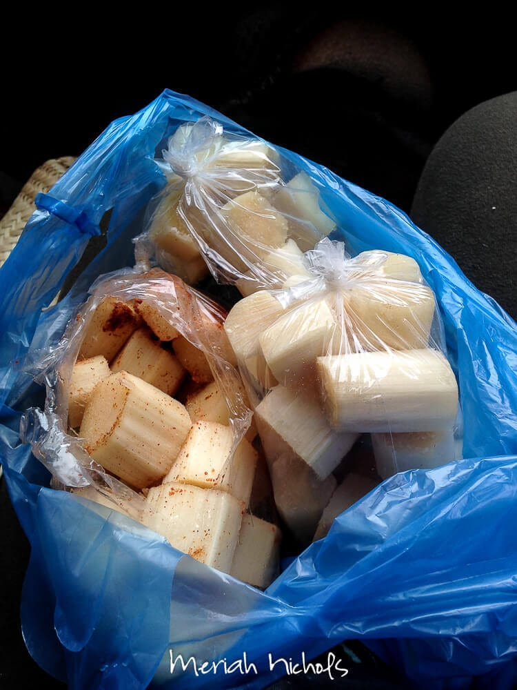 sugarcane! on the left, doused in lime juice, salt and hot chilli powder; on the right, just plain (for the kids)