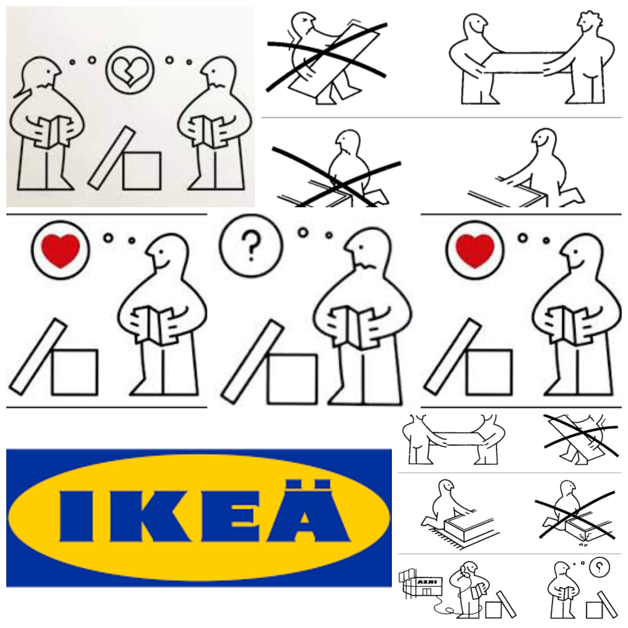 a collage of ikea direction people