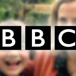 "text block says ""BBC"" and behind is a blurry image of two women. world without down's syndrome, bbc documentary"