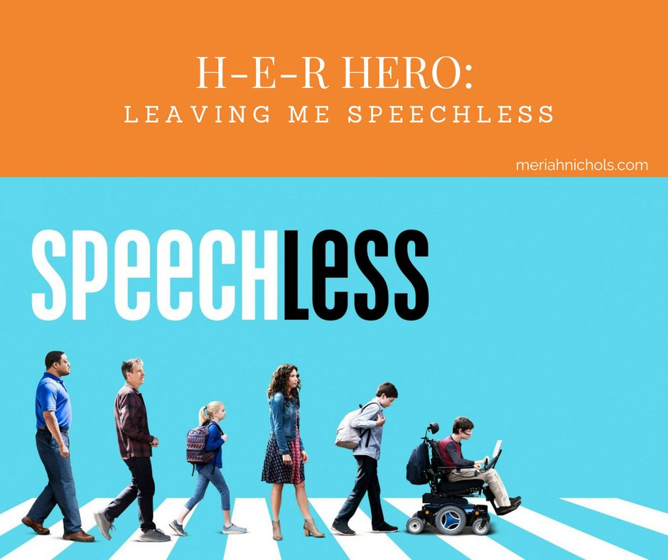 """Speechless H-E-R HERO: image description: blue background with white script reading, """"Speechless"""", a procession of people, led by an individual using a wheelchair, appear to be crossing the street"""