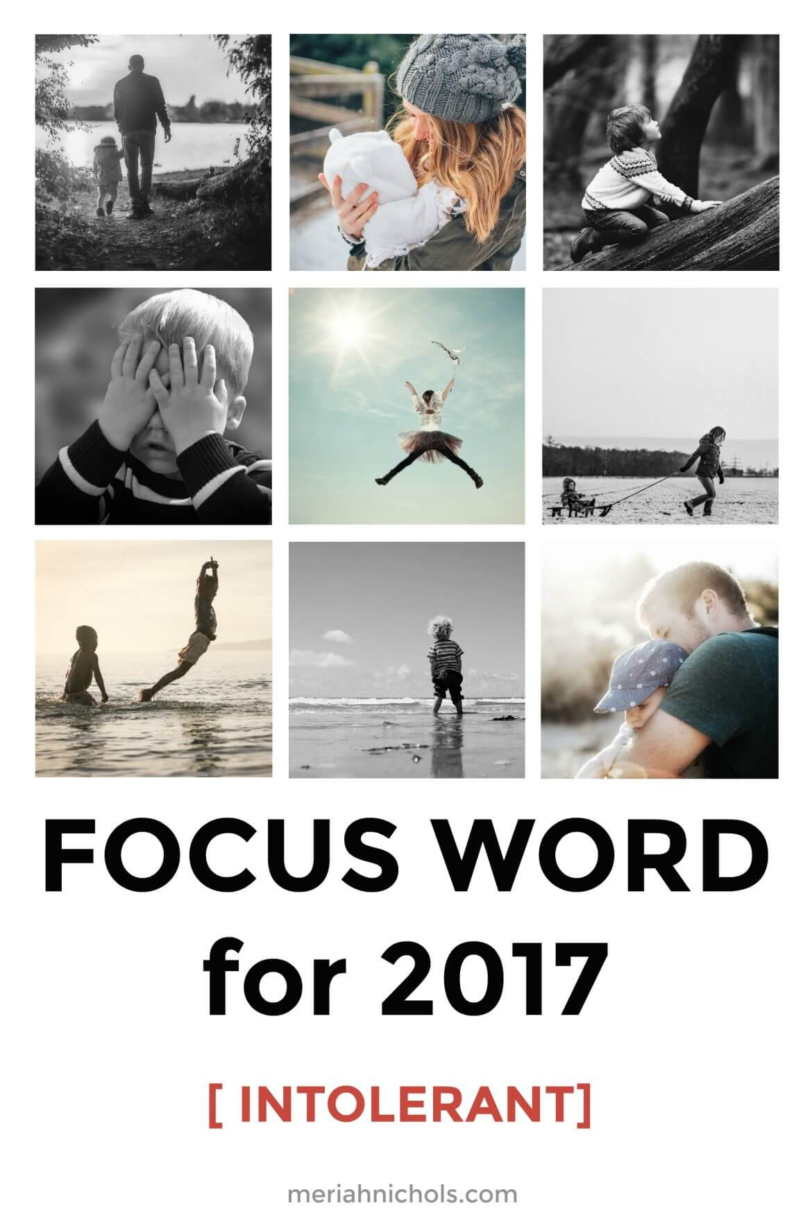 """focus word for 2017: intolerant. image description of an image collage of bright photos, on the bottom reads """"focus word for 2017 [intolerant] meriahnichols.com"""