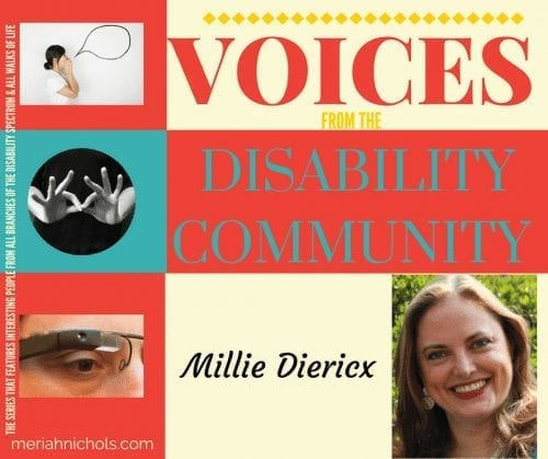 """Millie Diericx is featured in """"voices from the disability community"""" today"""