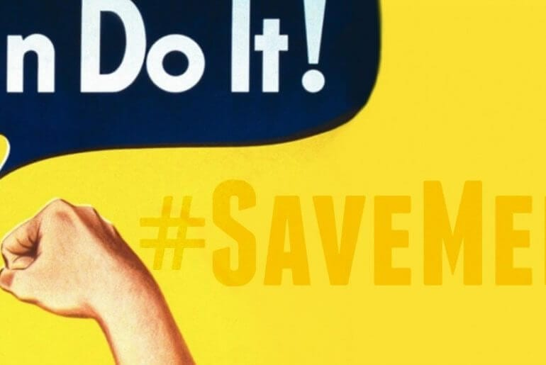 """save medicaid - rosie the riveter saying """"we can do it"""""""