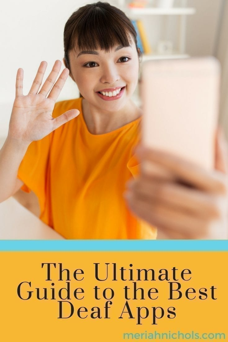 the ultimate guide to the best deaf apps: image description: smiling asian woman says hi into phone she is holding up