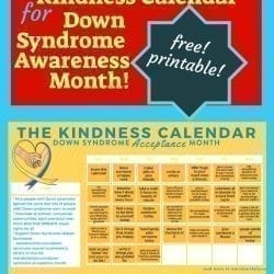 the Kindness Calendar for Down syndrome awareness month or world down syndrome day