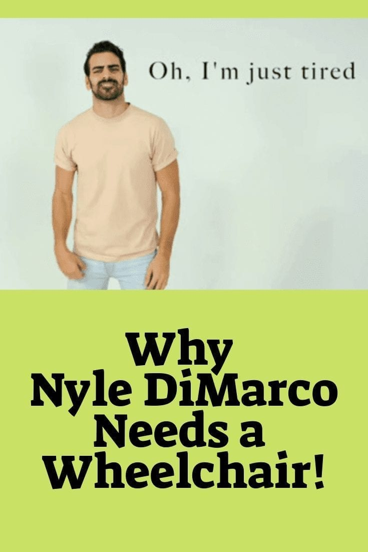 "why nyle dimarco needs a wheelchair - image of a man with cream shirt and jeans, he has dark hair and is smiling, text reads, ""oh, I'm just so tired"""