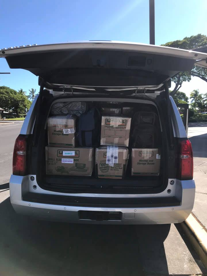 car filled with boxes