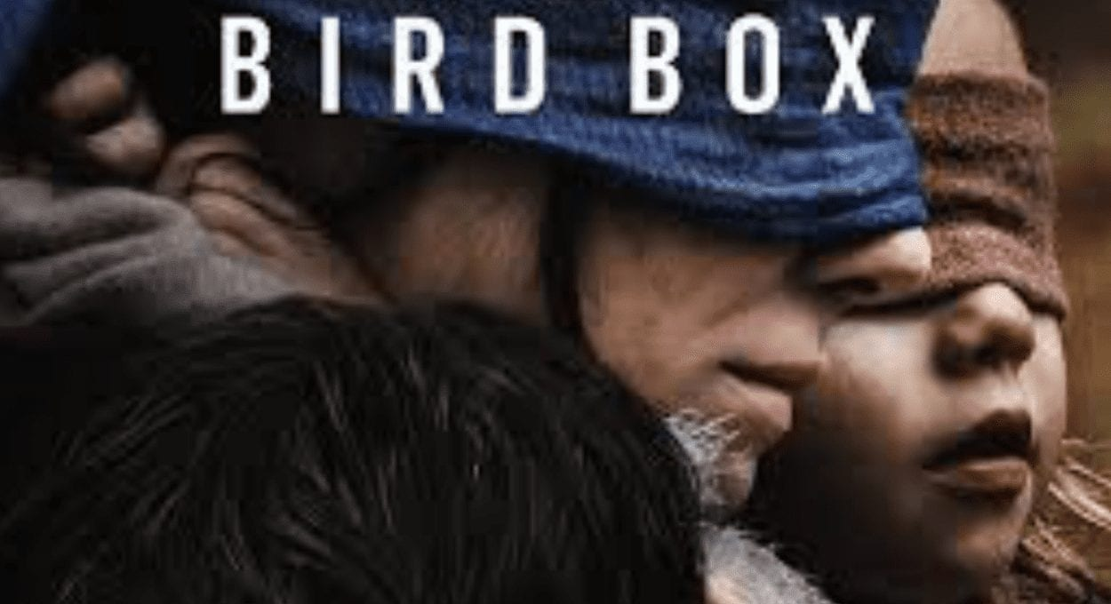 Birdbox: a movie with blind advantage from a deaf perspective. Image description: a woman with a child, both wearing blindfolds. text on image reads