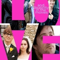 """love and disability movies: image of text reading """"love"""" with images in the shape of the text, the images are from the movies featured in the post"""
