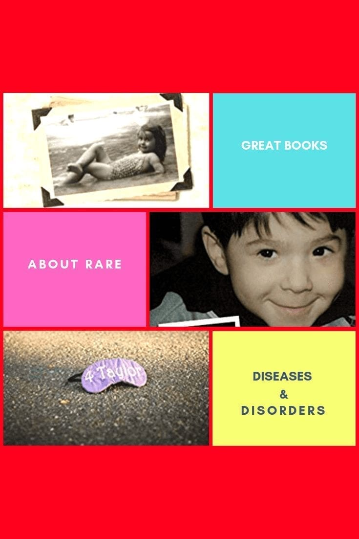 great books about rare diseases and disorders: image of alternating squares. some square of solid color background with the title of the post interspersed; other squares have images from the cover of the books on them)