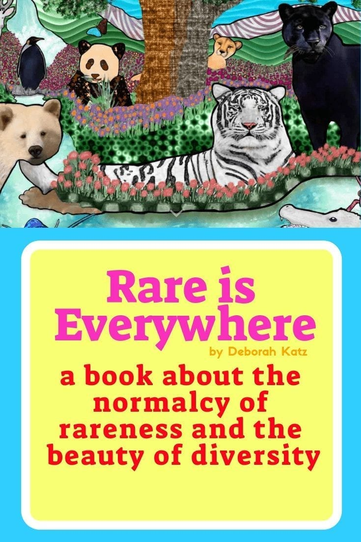 rare is everywhere book: image of many animals in mixed media (combination of photo and painting): a panda, polar bear, white tiger, black panther
