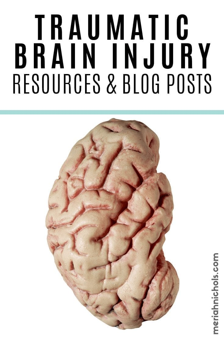 """traumatic brain injury resources and blog posts: image of a brain and text reading """"traumatic brain injury resources & blog posts"""""""