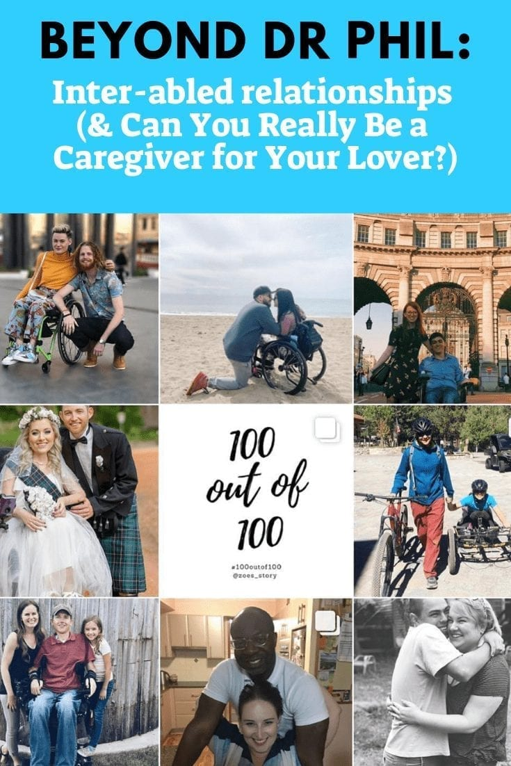 """Beyond Dr. Phil: exploring inter-abled relationships. image of a blue background with text reading """"Beyond Dr Phil"""" and images of inter-abled couples"""