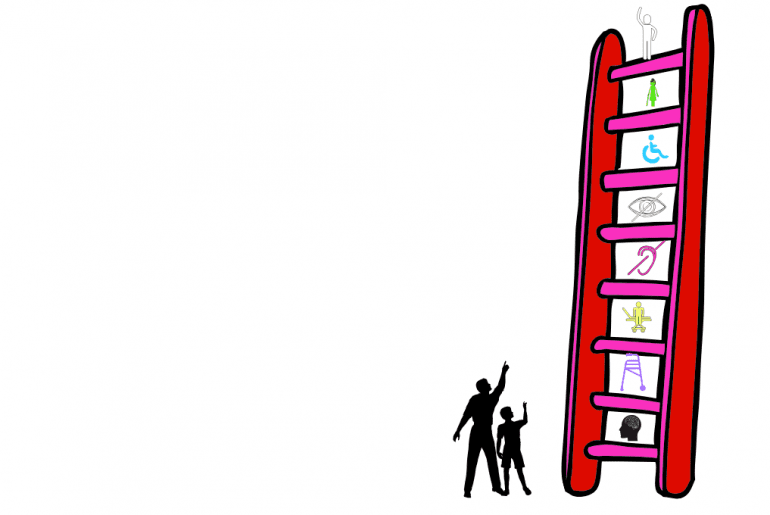 image description: two black figures stand looking up and pointing to the top of a ladder. The ladder is red, and in between each rung is an icon of something related to disability (- the icon for deaf, blind, wheelchair and so forth). the bottom run is intellectual and the top rung is a white figure that appears able bodied.