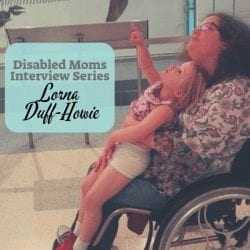 Disabled Moms Interview Project: Featuring Lorna Duff image description: a lithg skinned woman in a wheelchair with a light skinned child on her lap look up at the floating bones of a dinosaur - the child is pointing up - text reads: disabled moms interview series Lorna Duff