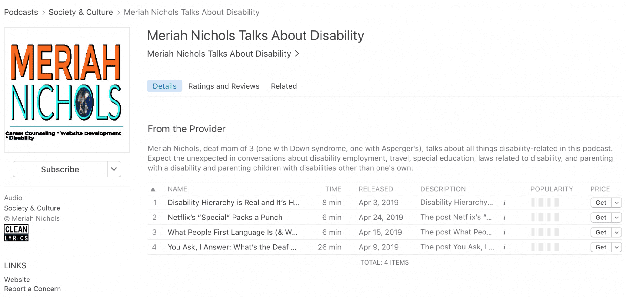 image decription of meriah nichols podcst: screenshot of the podcast information from Apple ITunes