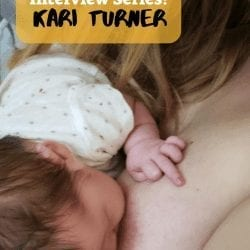 Disabled Mom Interview Series - image description: A mom with long, blond hair breastfeeds her brown-haired, onesie-clad, nearly-week-old daughter whose left hand is curled into an upside-down middle finger gesture against Mom's left breast