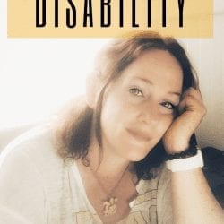 """being a mom with a disability series: image description: woman with light skin rests head in her palm. she is slightly smiling. her hair is dark. text on image reads, """"being a mom when you have a disability"""""""