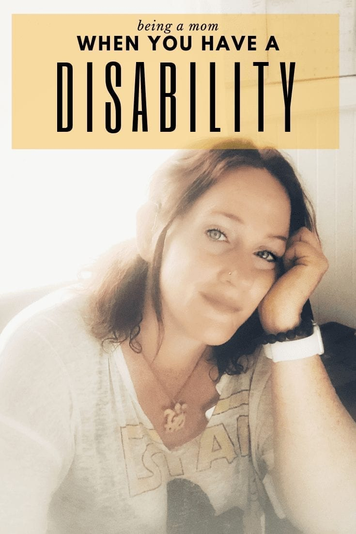"being a mom with a disability series: image description: woman with light skin rests head in her palm. she is slightly smiling. her hair is dark. text on image reads, ""being a mom when you have a disability"""