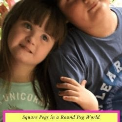"the power and value of the neurodiverse: image of a girl and a boy, the girl has down syndrome and the boy has asperger's. they are sitting with their heads leaning on each other, the girl's hand is wrapped around the boy's arm - text reads ""square pegs in a round peg world: the power and value of neurodiversity"""