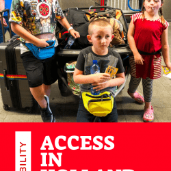 disability access in Holland: image of 3 children, one with Down syndrome, one with Autism, standing in front of a big stroller and luggage. they look pretty happy