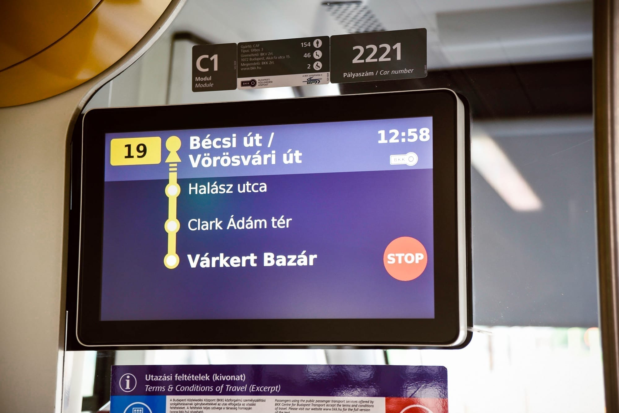 visual signs in the tram on budapest