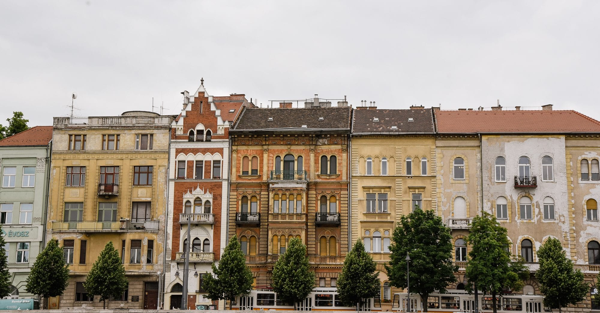 beautiful row of old buildings in Budapest