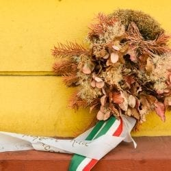wreath on a wall in budapest
