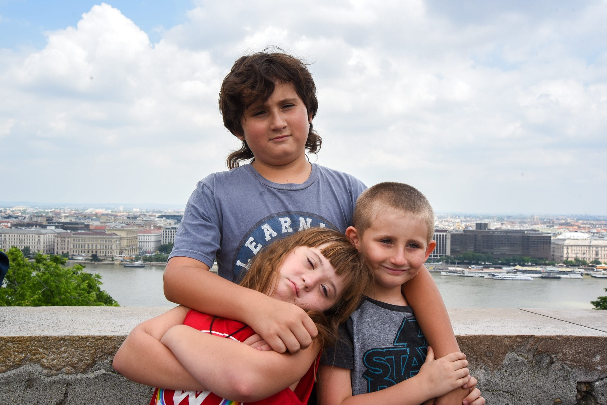 the kids in front of budapest lookout