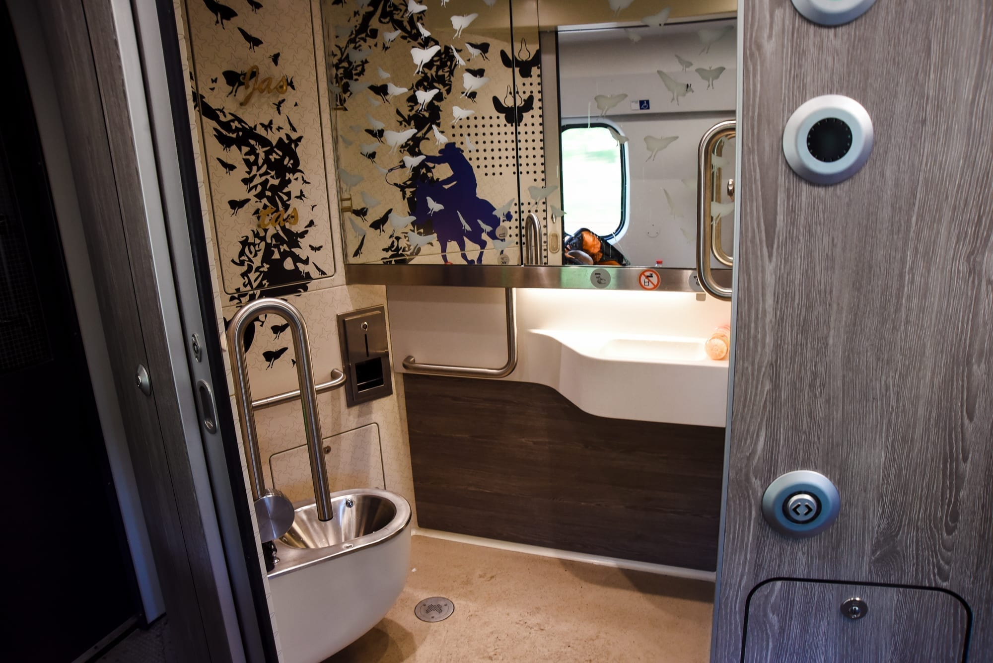 inter-city train bathroom in holland - a sliding door opens for a wheelchair accessible bathroom and an accessible wash stand. it is all very clean