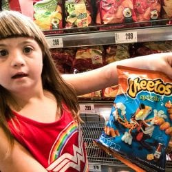 hungarian cheetos, held up by a little girl