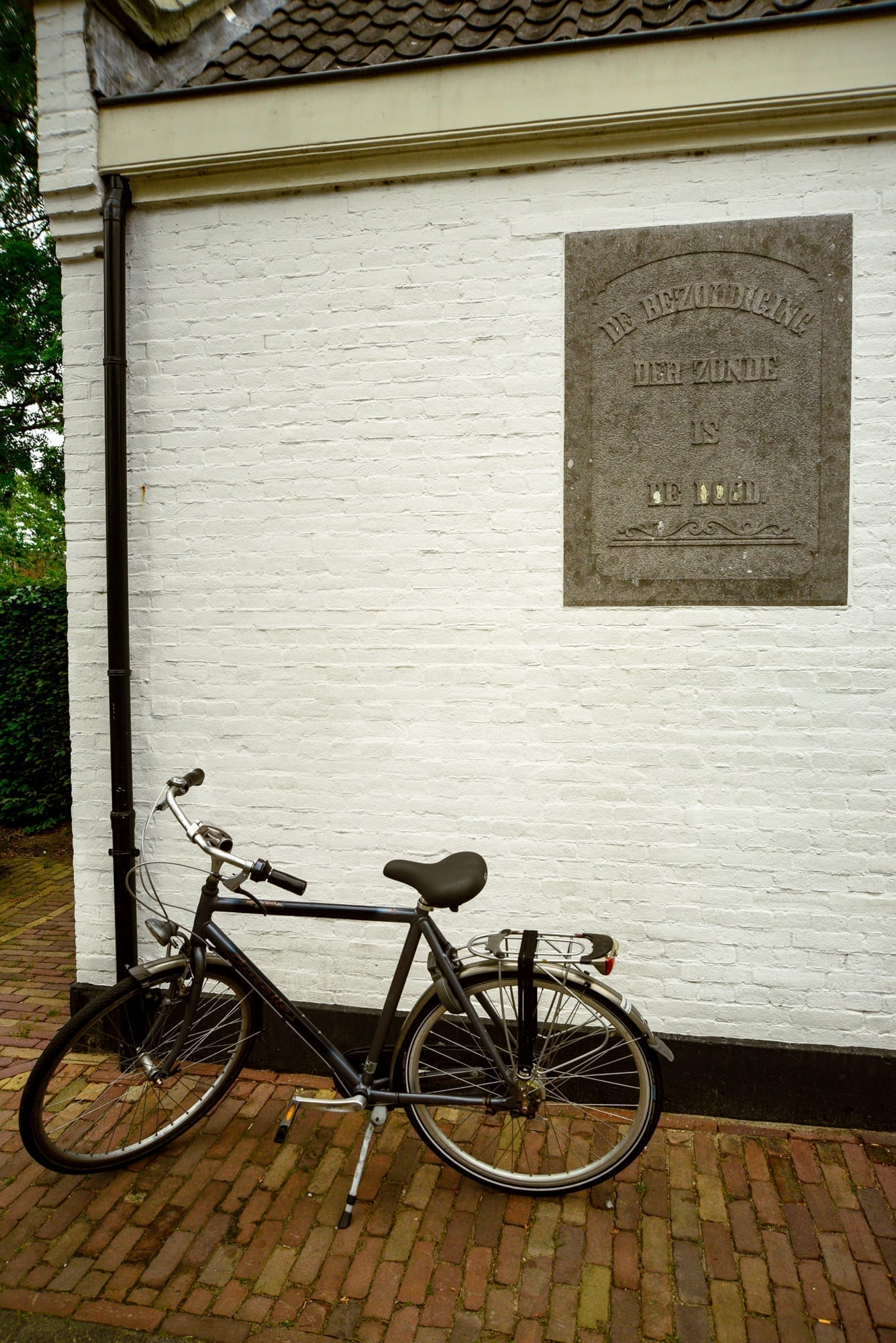 white building with a bike