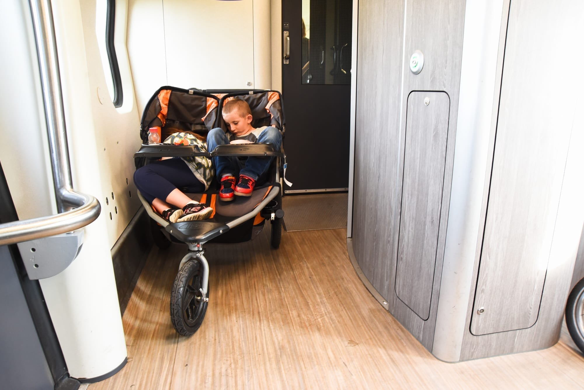access on the train in holland - spaces for wheelchair users, strollers, bikes