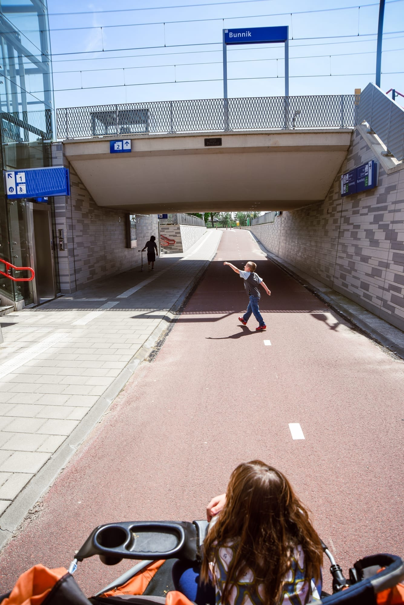 Bunnik train station in Holland - the road is accessible, the elevator is the left