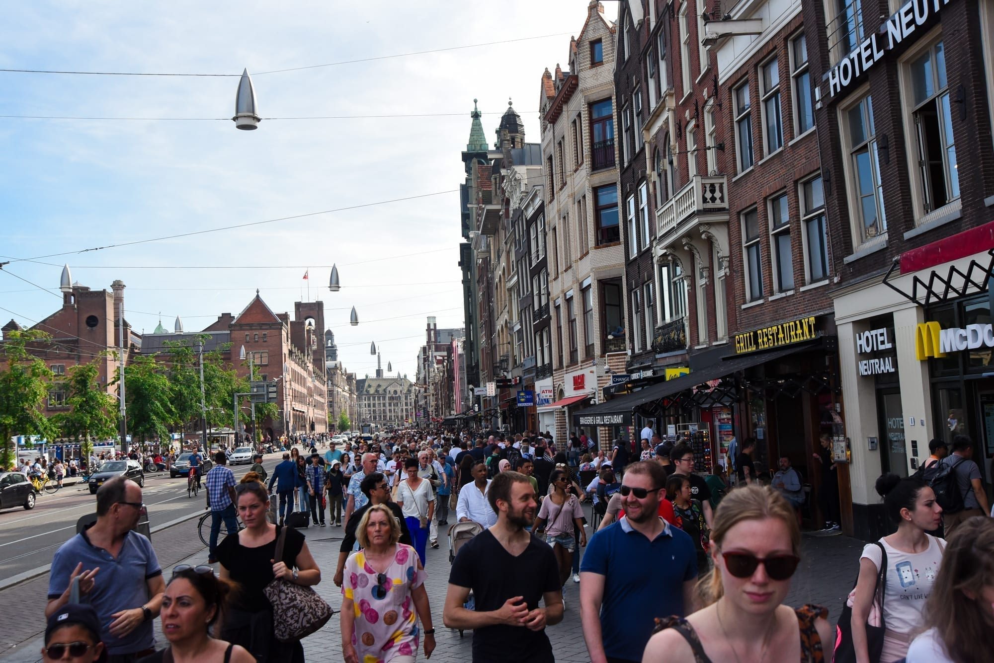 the street in Amsterdam with many people on it
