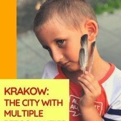 image of a boy with feathers on his cheek, text reads in red over yellow background: krakow: the city with multiple personalities, stories from one day in a lovely city with a bite