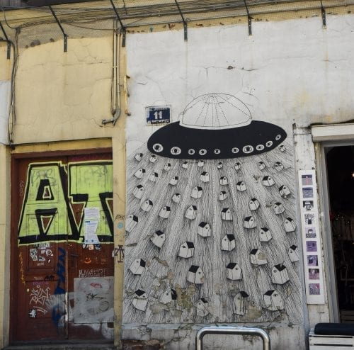 wall in krakow of alien spaceships