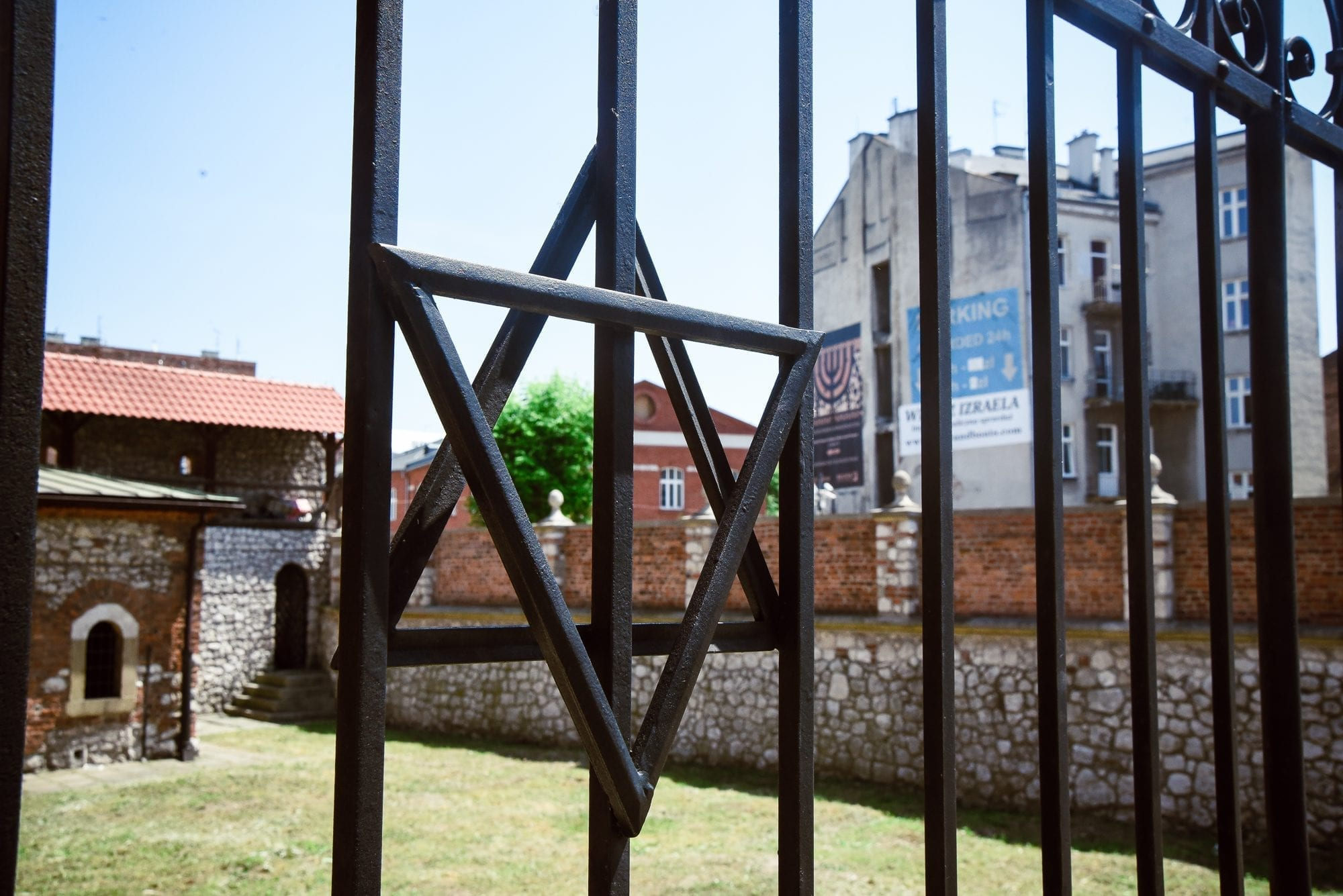 gate with star of david in jewish quarter of krakow