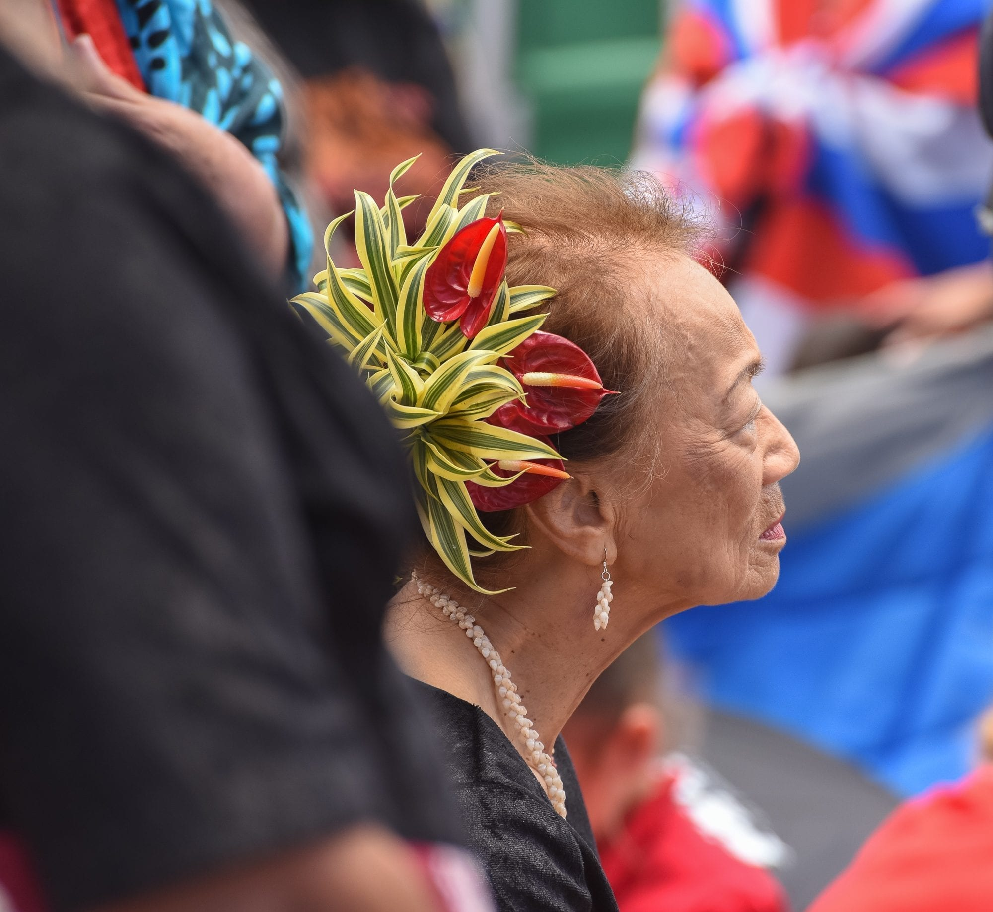 we can all be Hawaiian ally - image of a woman with a beautiful arrangement in her hair, staring off