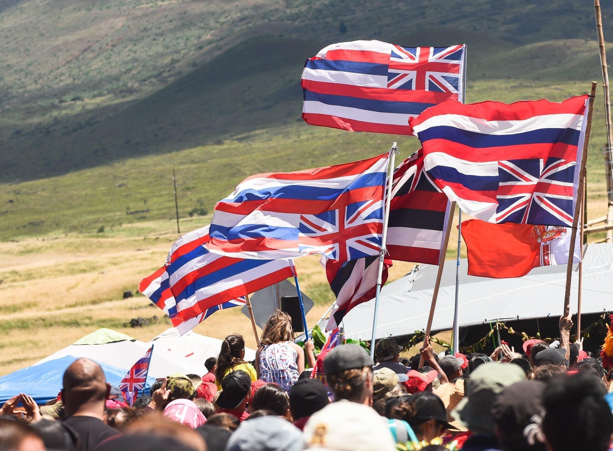 Hawaiian flags at Mauna Kea blockade