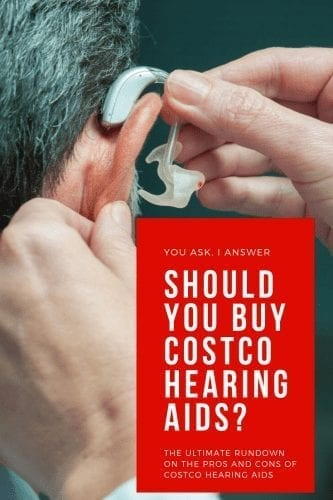 "Background of a hearing aid, red block in front and white text reading, ""should you buy hearing aids from costco?"""