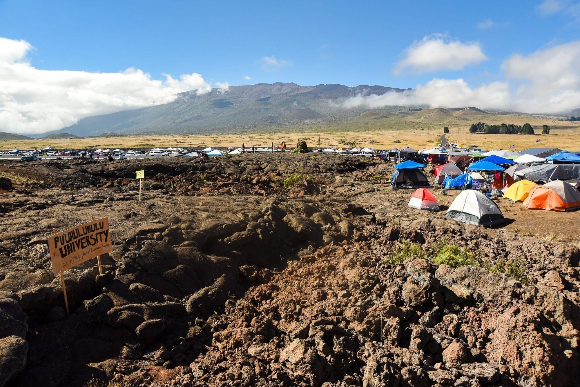 Mauna Kea being an ally to Hawaiians - image of Mauna Kea and the access road blocked