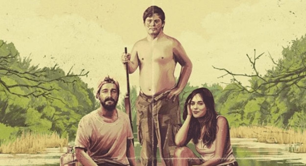 Peanut Butter Falcon Movie Poster: image description: 3 people, two men and a woman are on a raft on the water