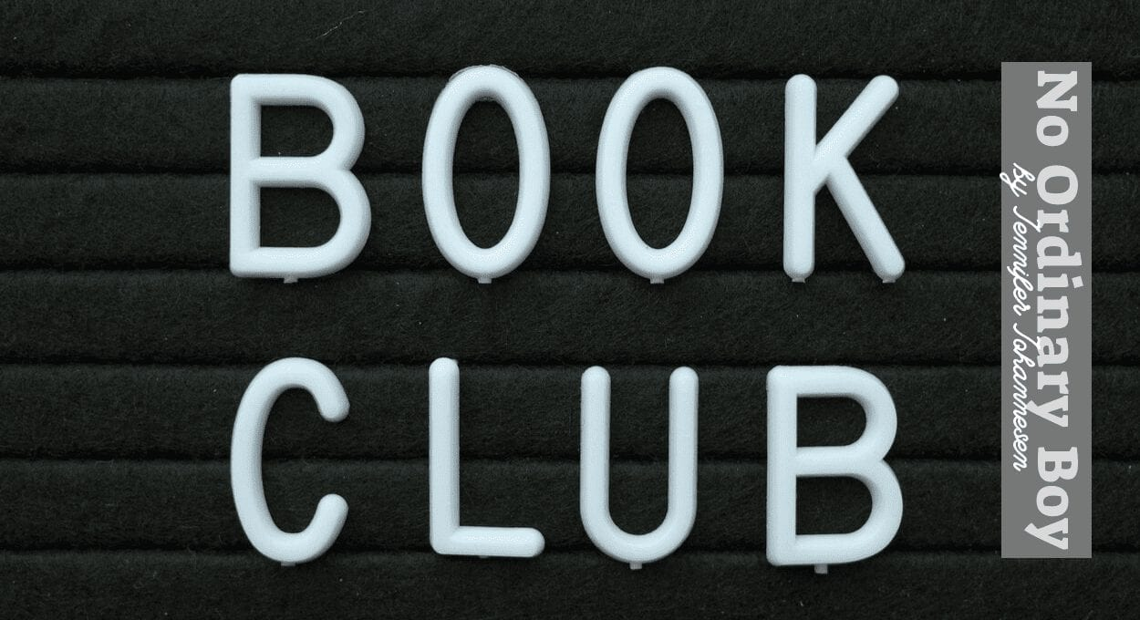 book club pick for october: no ordinary boy. image description: a black background with grey text reading: book club: no ordinary boy by jennifer johannesen