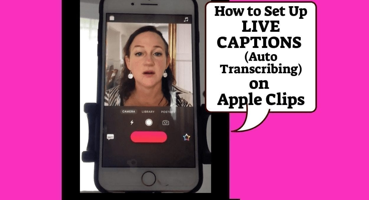 how to add live captions on apple clips. image description: pink background with an image of a woman talking on the phone with a text bubble reading