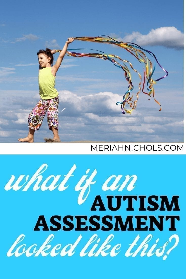 what if an autism assessment could be like this? [ image of a child who has light skin and brown hair walking with the sky and clouds above, holding streamers that float colorfully in the wind; the child appears happy]