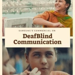 """text reads, """"samsung commericial on DeafBlind communication"""""""