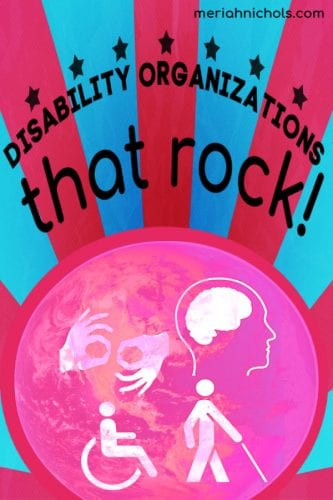 "disability organizations that rock! - image of blue background with red alternating strips ending in a red circle. a pink ball is behind a pink globe with white disability icons (- person using wheelchair, person with cane, brain, signing hands, etc). text reads ""disability organizations that rock!"" in curved, black text"