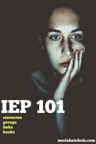 """IEP Resources for parents: image of a woman staring ahead with her hand on her face as if looking into a computer screen. text reads """"IEP 101 resources, books, groups, links, = you are not alone!"""""""