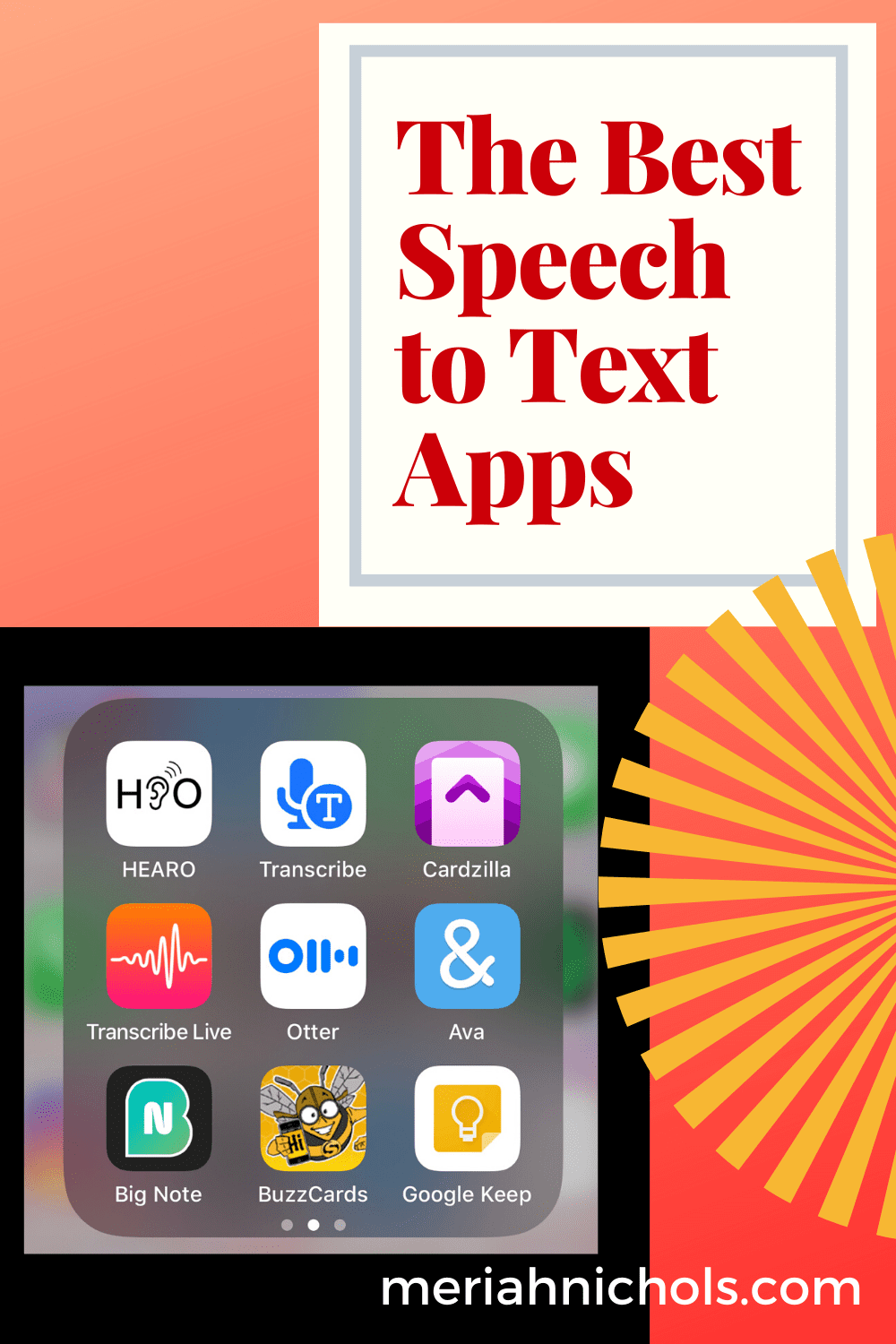 "the best speech to text apps - image of various apps , an orange background with text reading ""the best text to speech apps"""